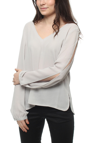 Aflie Sleeve Open Blouse Sky Grey
