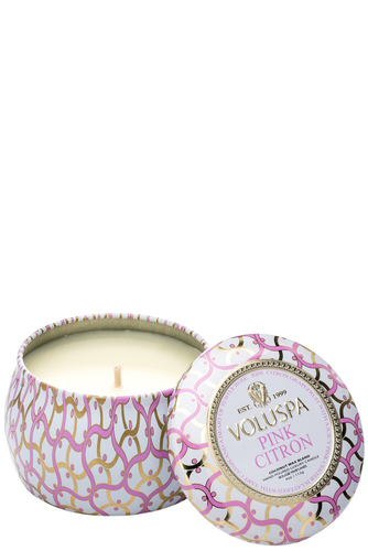 Voluspa Dec. Tin Candle 25tim Pink Citron