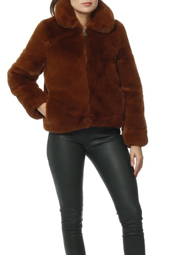 Selected Femme Slfaya Faux Fur Jacket B Tortoise Shell