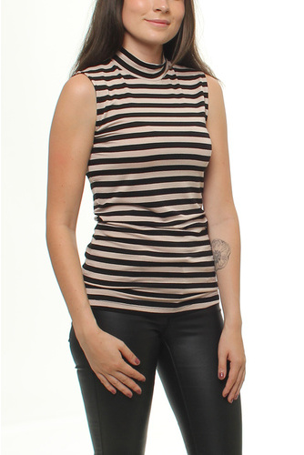 Rachel Sl Top Stripe Stripe Black