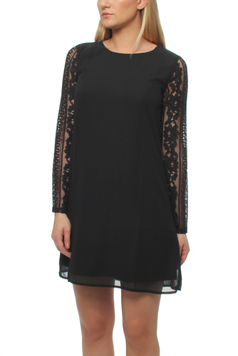 WOOD SLEEVE LACE DRESS BLACK