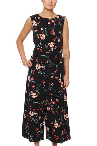 Vila VIMABEL CROPPED JUMPSUIT BLACK/FLOWER PR