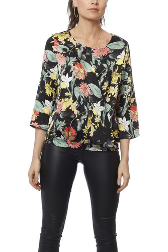 Rut & Circle Flower Wrap Blouse Black