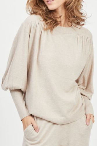 Vila Violivinja Shoulder L/s Top Natural Melange