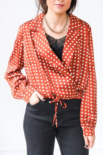 Rut & Circle Sandy Dot Blouse Rust Dot