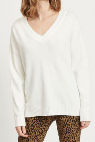 Vila Viril Oversized V-neck Knit Top White Alyssum
