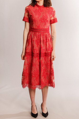 Vila Vidixie S/s Midi Dress Flame Scarlet