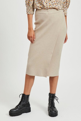 Vila Violovinja Knit Midi Wrap Skirt Natural Melange