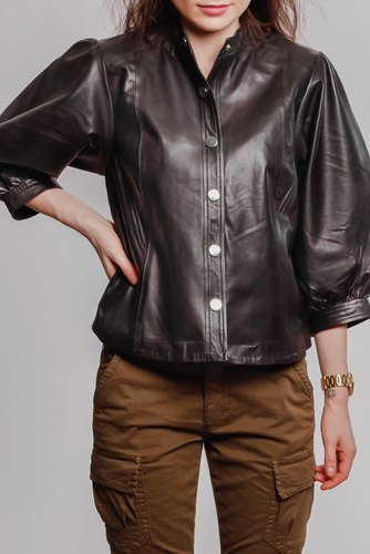Selected Femme Slfmilla Leather Shirt B Black