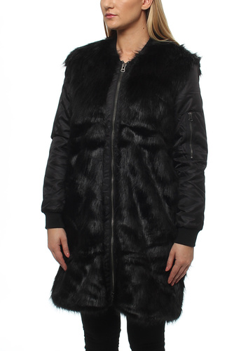 Signe Faux Fur Bombercoat Black