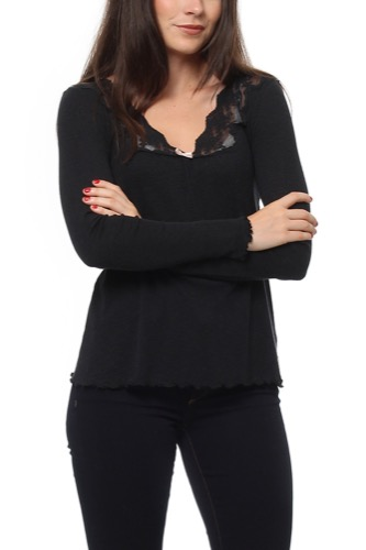 Odd Molly RIB-EYE L/S TOP ALMOST BLACK