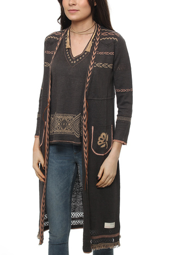 BUNGALOW LONG CARDIGAN BLACK LAVA