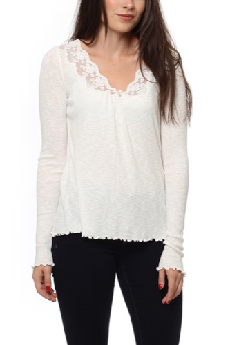 Odd Molly RIB-EYE L/S TOP LIGHT CHALK