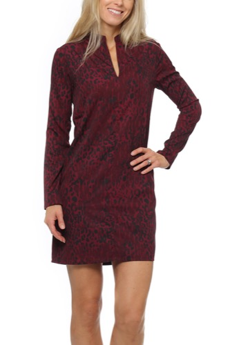 Dry Lake Bleak Sleeve Dress Red Leo Print