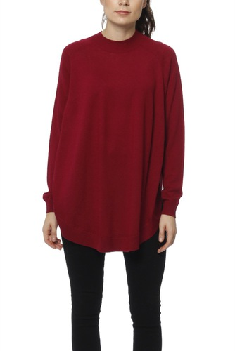 Selected Femme Slfeileen Ls Knit Highnec Beet Red