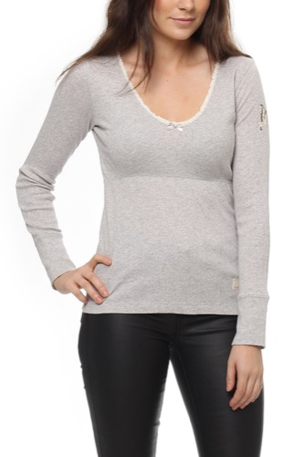 Odd Molly RIB JERSEY L/S TOP GREY MEL