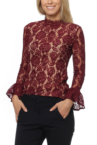 Dry Lake MYTHOLOGY BLOUSE BURGUNDY LACE