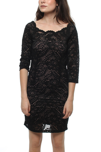 VISINOTA 3/4 LEEVE DRESS BLACK/NUDE