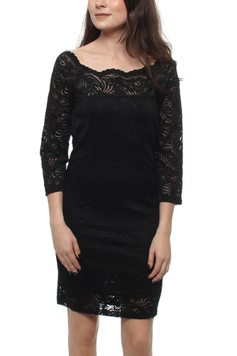 VISINOTA 3/4 LEEVE DRESS BLACK/BLACK
