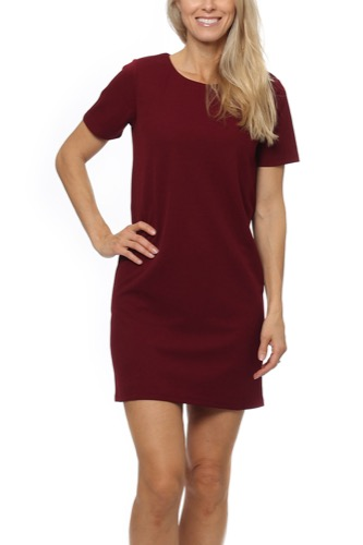 Dry Lake VULCANO DRESS BURGUNDY