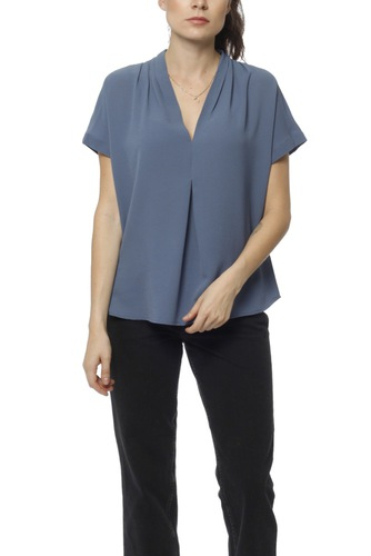 Dry Lake Eva Blouse Mid Blue
