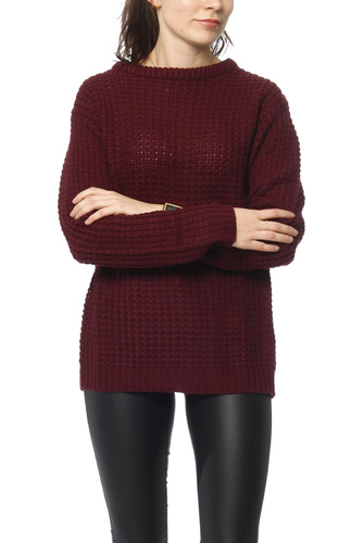 Rut & Circle Samira Open Back Knit Wine Red