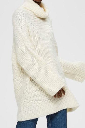 Selected Femme Slfmillie Ls Knit Rollnec Snow White