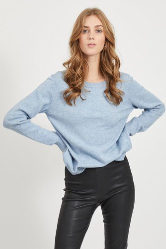 Vila Viril L/s O-neck Knit Top Ashley Blue