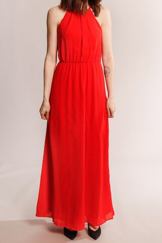 Vila Vimicada S/l Ancle Dress Flame Scarlet