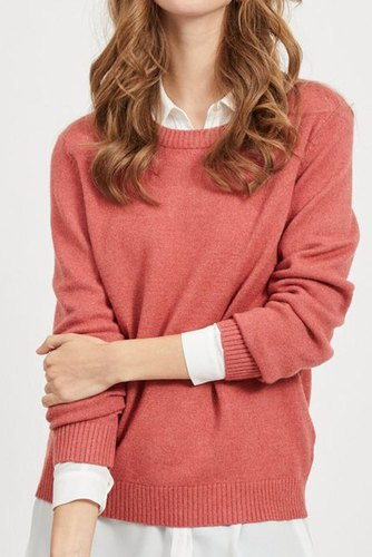 Vila Viril L/s O-neck Knit Top Dusty Cedar