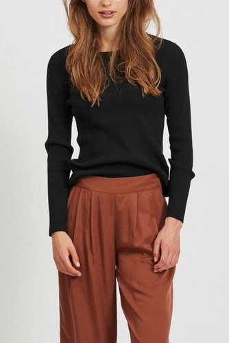Vila Viwenda Rib L/s Knit Top Black