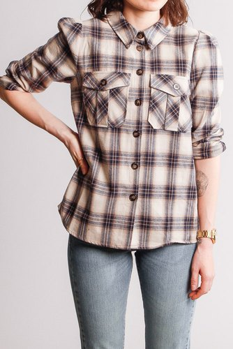 CO'COUTURE Lison Check Shirt Bone