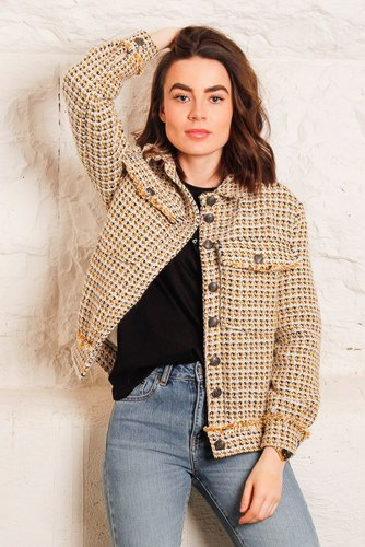 CO'COUTURE Rosalie Boucle Jacket Mustard