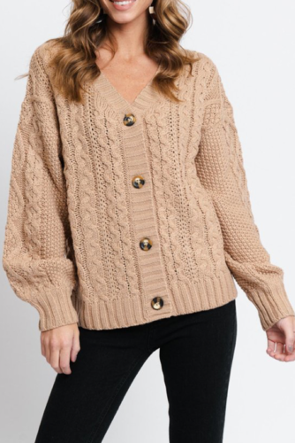 Rut & Circle Carrie Cable Cardigan Beige