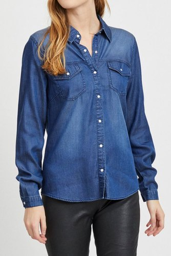 Vila Vi Bista Denim Shirt Dk Blue Denim