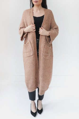 YAS Yassunday Long Knit Cardigan Almondine