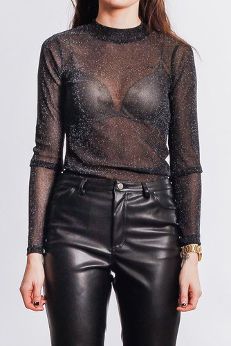 Neo Noir Gillian Lurex Blouse Black