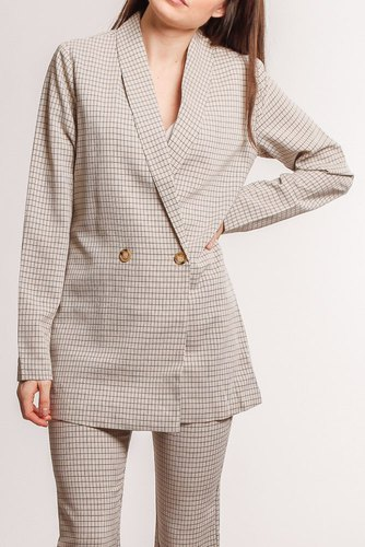 Rut & Circle Maja Check Blazer Light Beige
