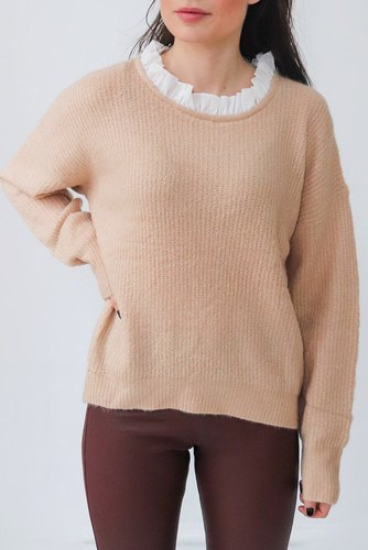 Zmillas Knitted Sweater W Collar Apricot