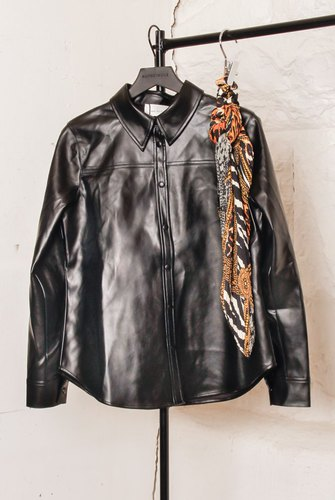Neo Noir Cana Fux Leather Shirt Black