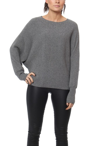 Vila VILEASTA L/S KNIT TOP MEDIUM GREY