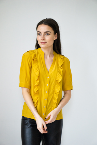 CO'COUTURE Essential Frill Shirt Mustard