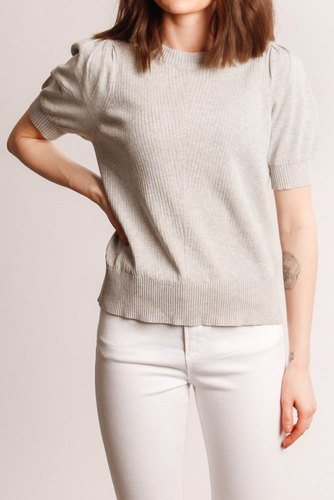 Neo Noir Sanya Soft Knit Tee Light Grey