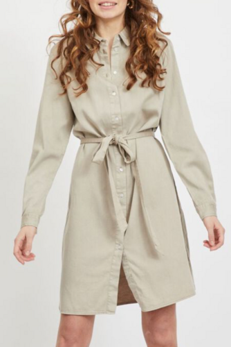 Vila Vibista Denim Belt Dress Simply Taupe