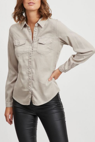 Vila Vi Bista Denim Shirt Simply Taupe