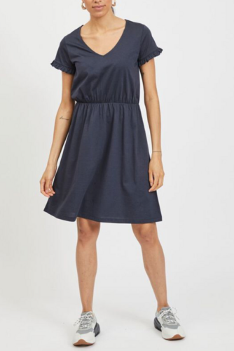 Vila Vidreamers S/s V-neck Dress Total Eclipse