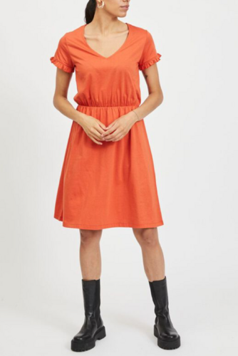 Vila Vidreamers S/s V-neck Dress Burnt Ochre