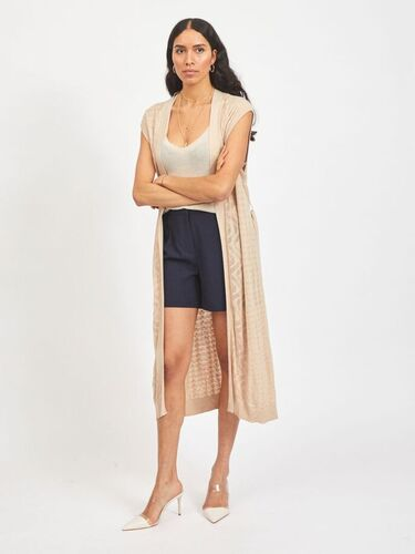 Vila Vilesley Long Knit Vest Natural Melange