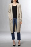 Vila Viril Long Knit Cardigan Natural Melange
